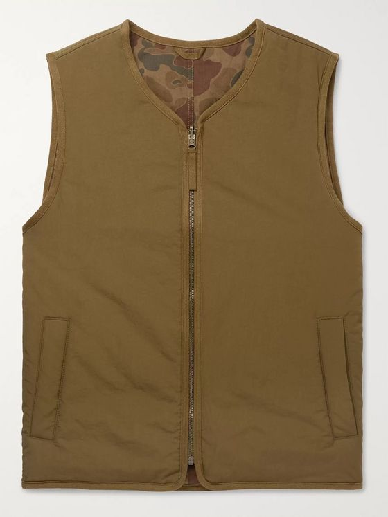 Alex Mill Reversible Padded Camouflage-Print Nylon and Cotton Gilet