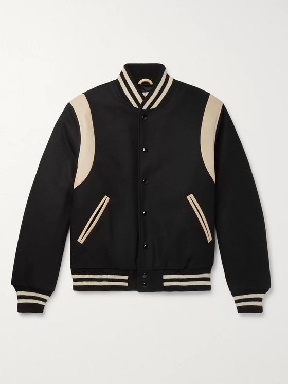 Golden Bear The Hayes Leather-Panelled Wool-Blend Bomber Jacket