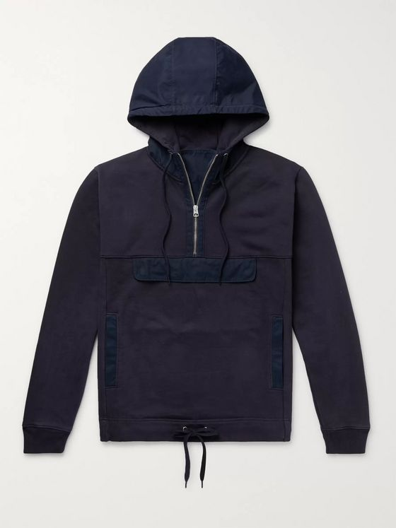 Alex Mill Canvas-Trimmed Fleece-Back Cotton-Blend Jersey Zip-Up Hoodie