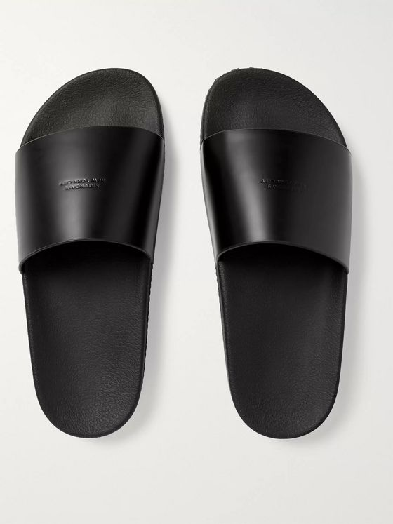 Saturdays NYC Banya Logo-Debossed Leather Slides