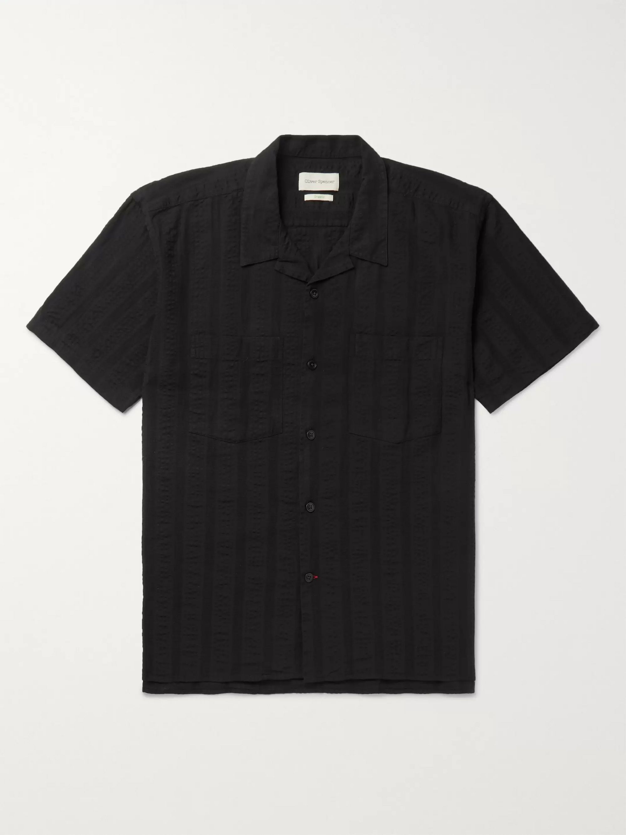 Oliver Spencer Slim-Fit Camp-Collar Striped Organic Cotton-Seersucker Shirt