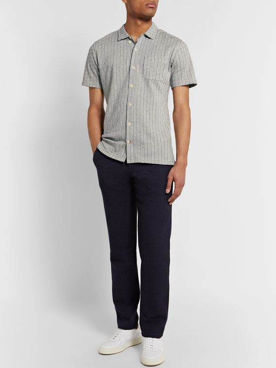 Oliver Spencer Slim-Fit Camp-Collar Striped Cotton-Blend Shirt