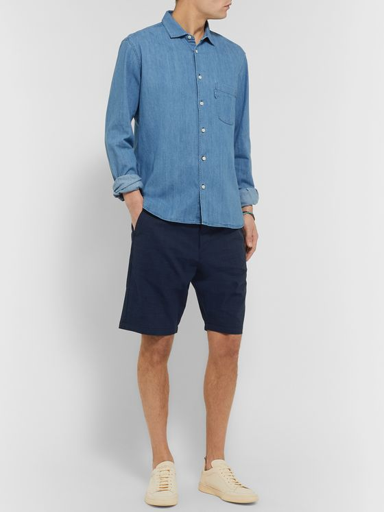 Oliver Spencer Prince of Wales Checked Cotton-Blend Seersucker Drawstring Shorts