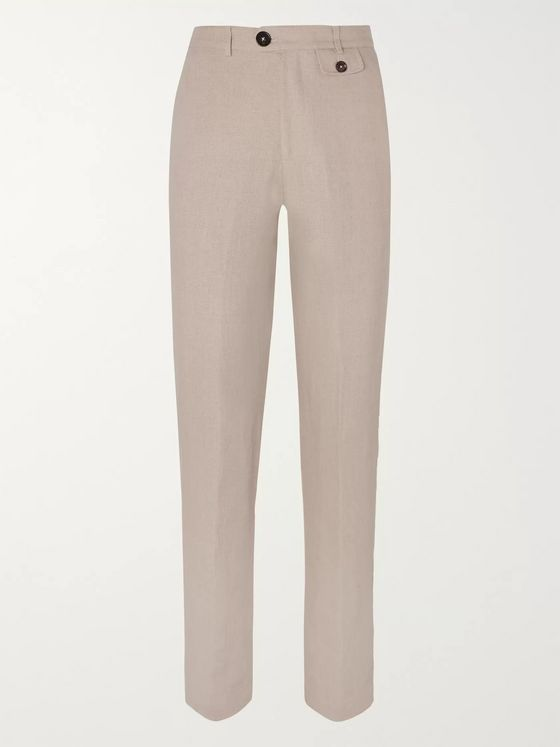Oliver Spencer Beige Linen Suit Trousers