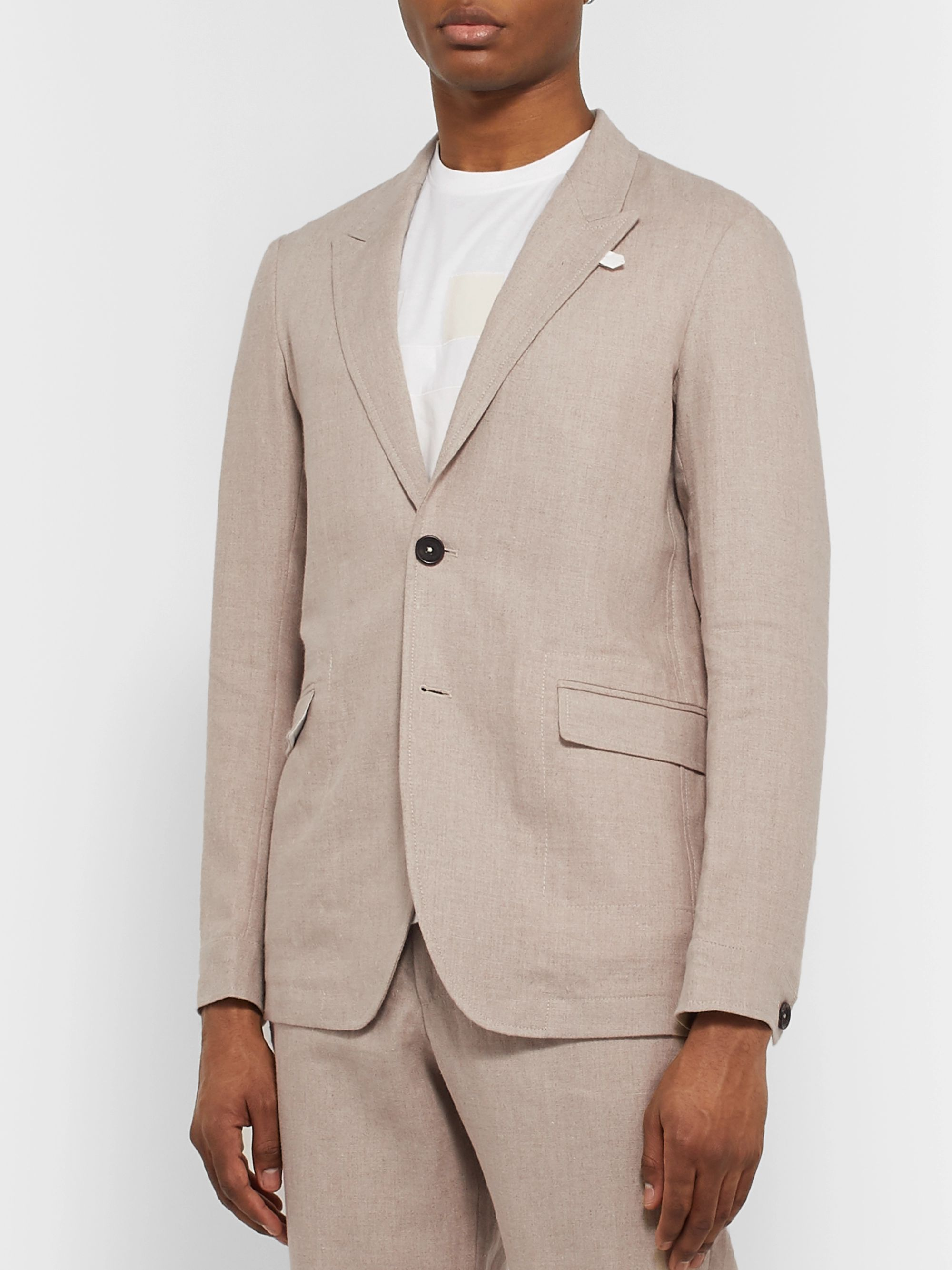 Oliver Spencer Beige Brookes Unstructured Linen Suit Jacket