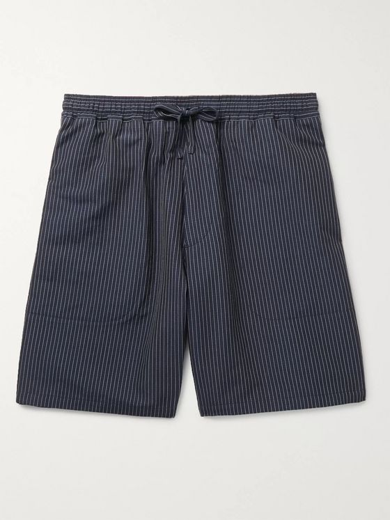YMC Striped Cotton and Linen-Blend Drawstring Shorts