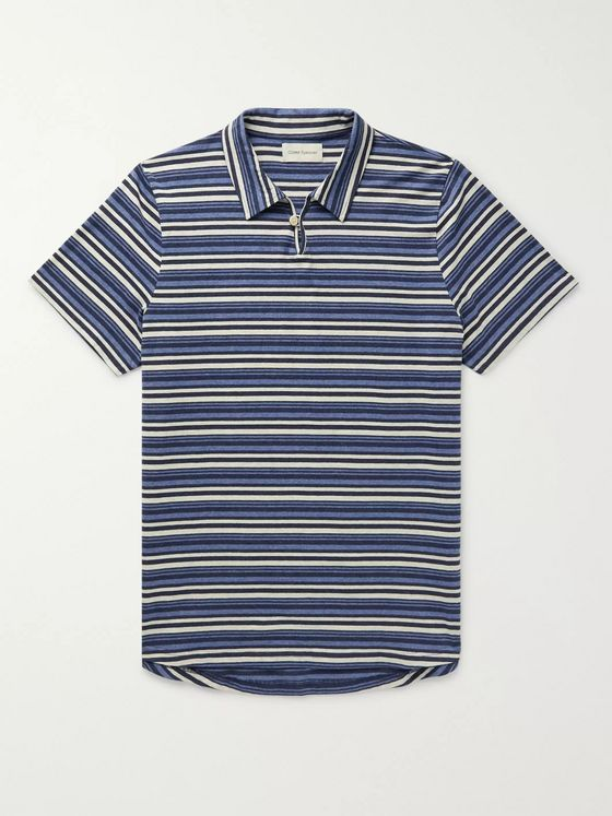 OLIVER SPENCER Hawthorn Striped Mélange Cotton-Jersey Polo Shirt