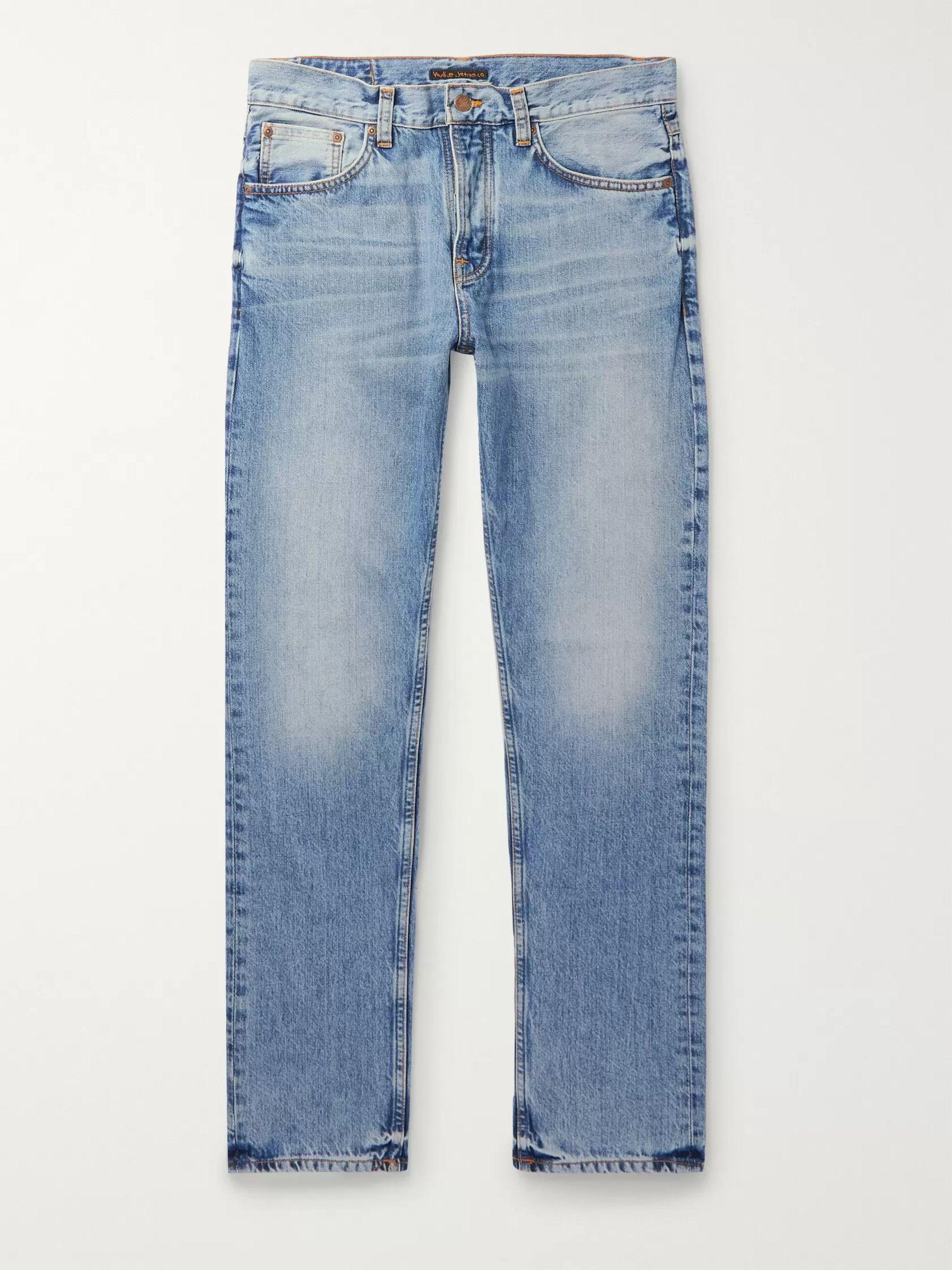 Nudie Jeans Blue Steady Eddie II Slim-Fit Organic Denim Jeans,Blue