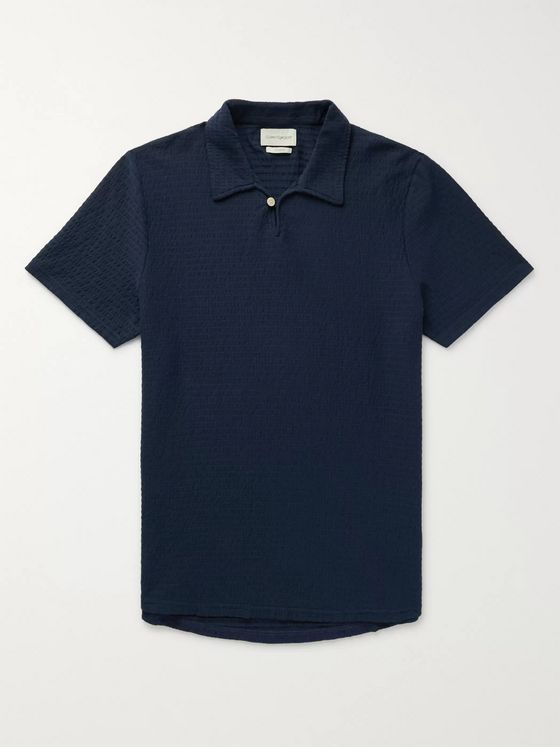 Oliver Spencer Hawthorn Organic Stretch-Cotton Seersucker Polo Shirt