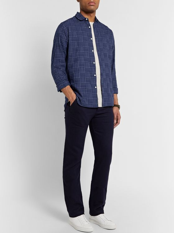 Oliver Spencer Eton Penny-Collar Checked Cotton Shirt