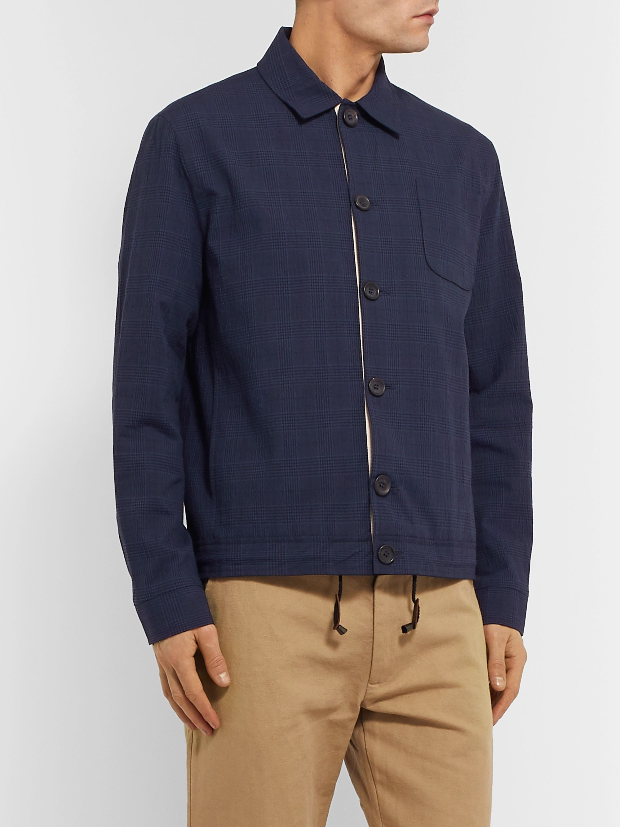 Oliver Spencer Buckland Slim-Fit Checked Cotton-Blend Jacket