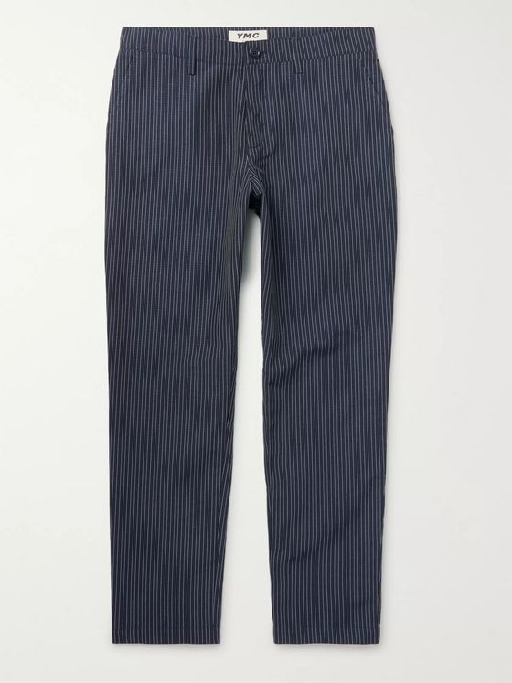 YMC Hand Me Down Tapered Cropped Pinstriped Cotton and Linen-Blend Trousers