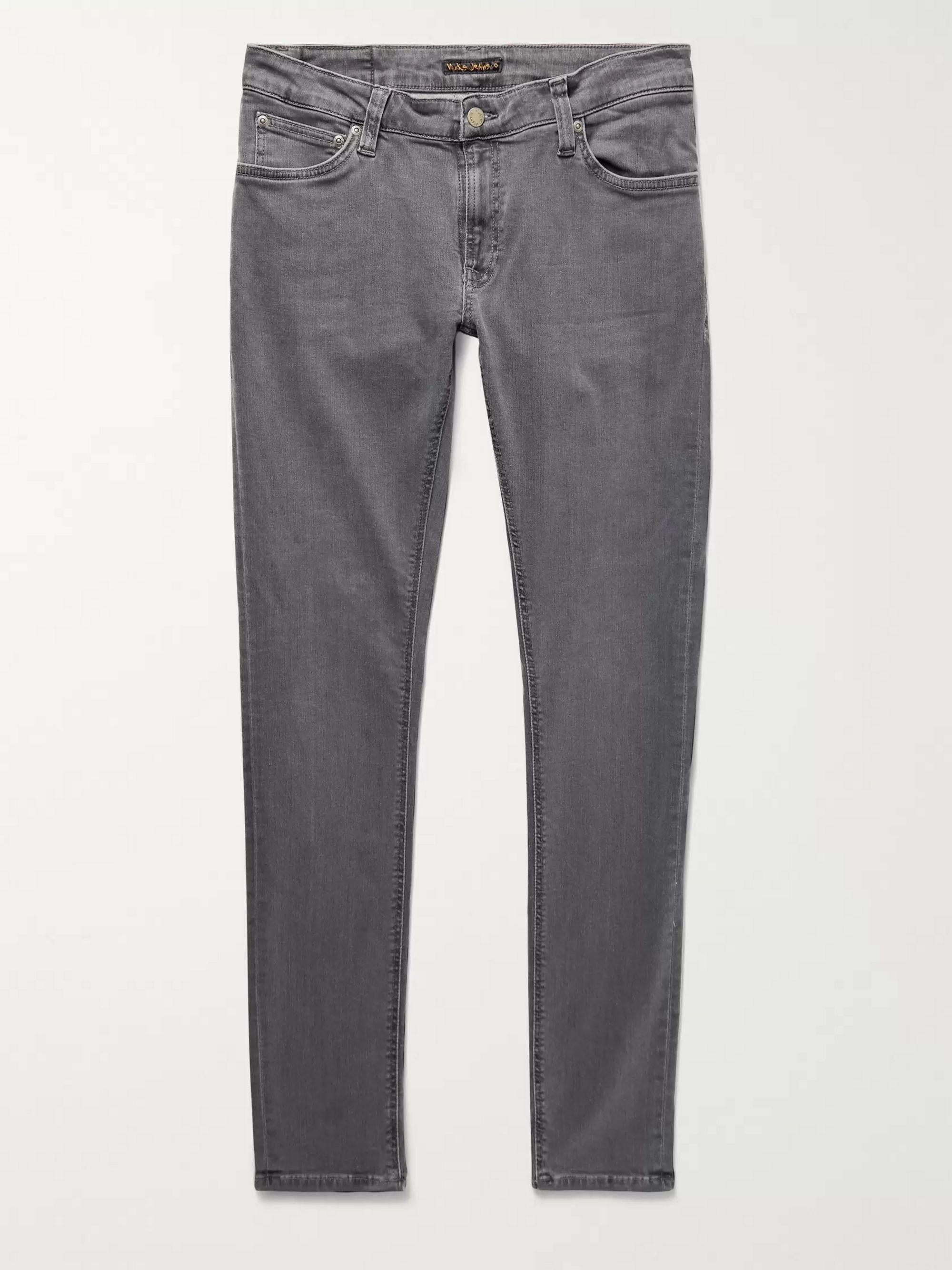 Nudie Jeans Gray Skinny Lin Organic Stretch-Denim Jeans,Gray