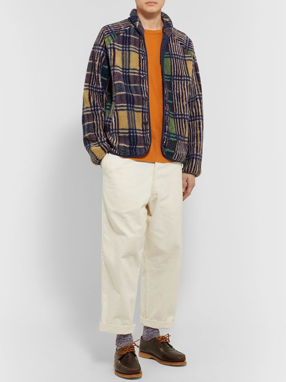 YMC Beach Shawl-Collar Checked Fleece Jacket