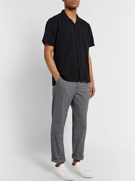 OLIVER SPENCER Prince of Wales Checked Cotton-Blend Seersucker Trousers