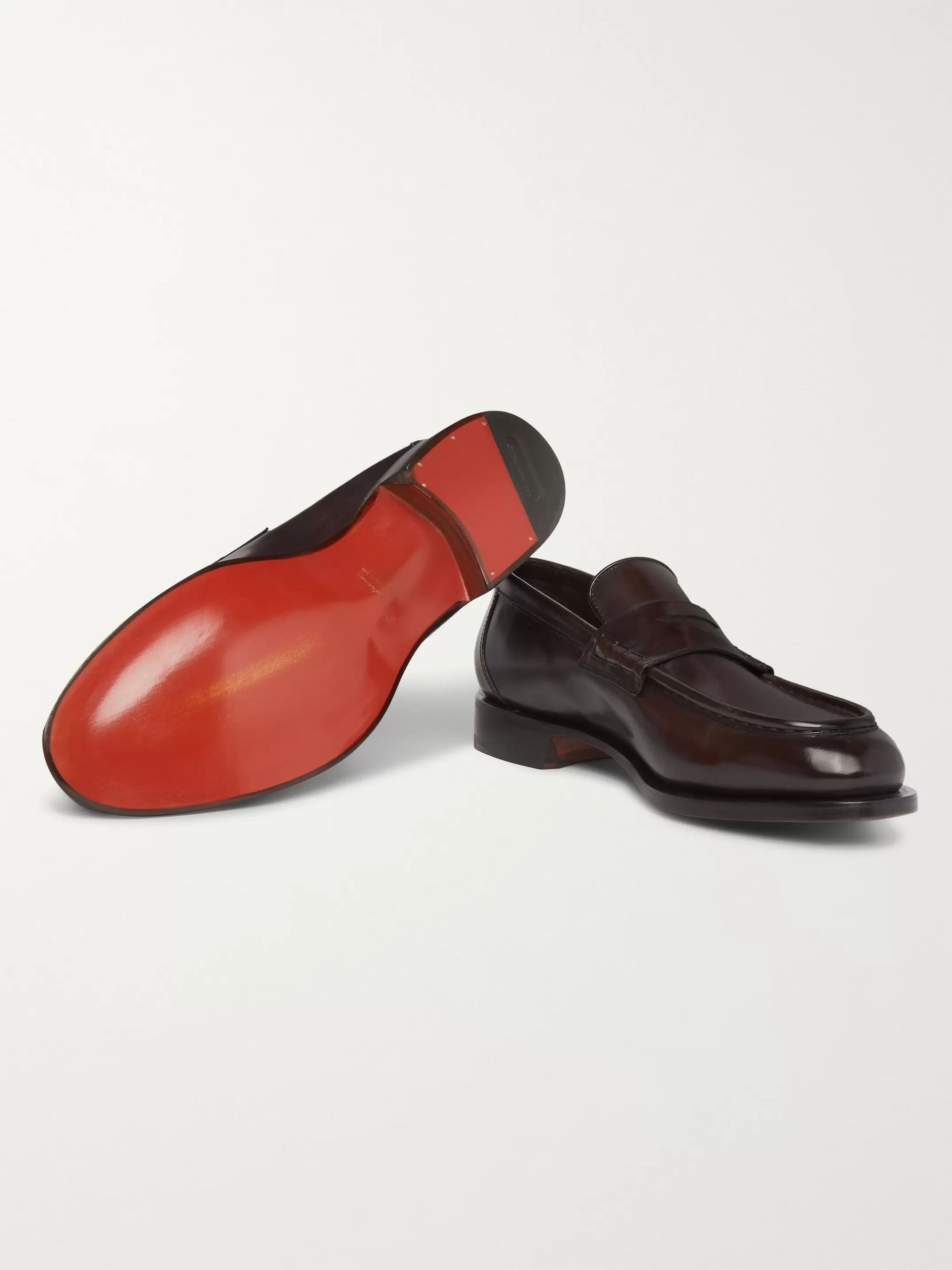Santoni Polished-Leather Penny Loafers