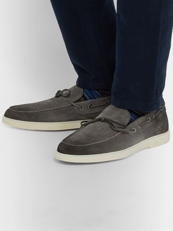 Santoni Suede Boat Shoes