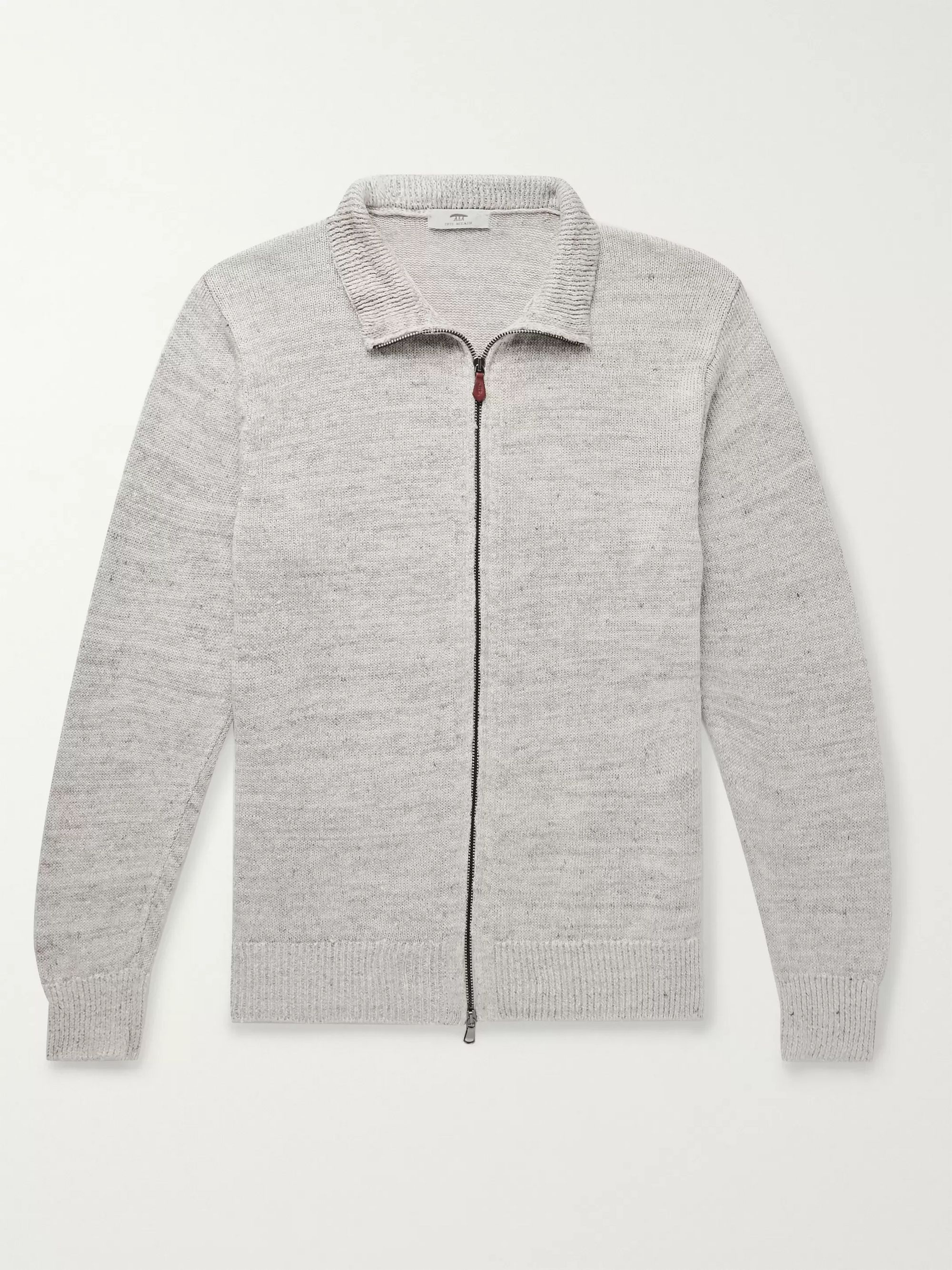 Inis Meáin Washed-Linen Zip-Up Cardigan