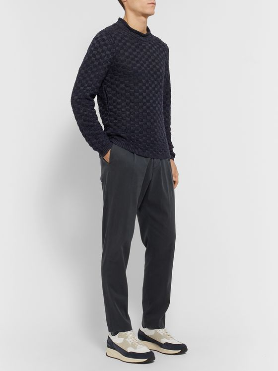 Inis Meáin Mock-Neck Basketweave Linen and Silk-Blend Sweater