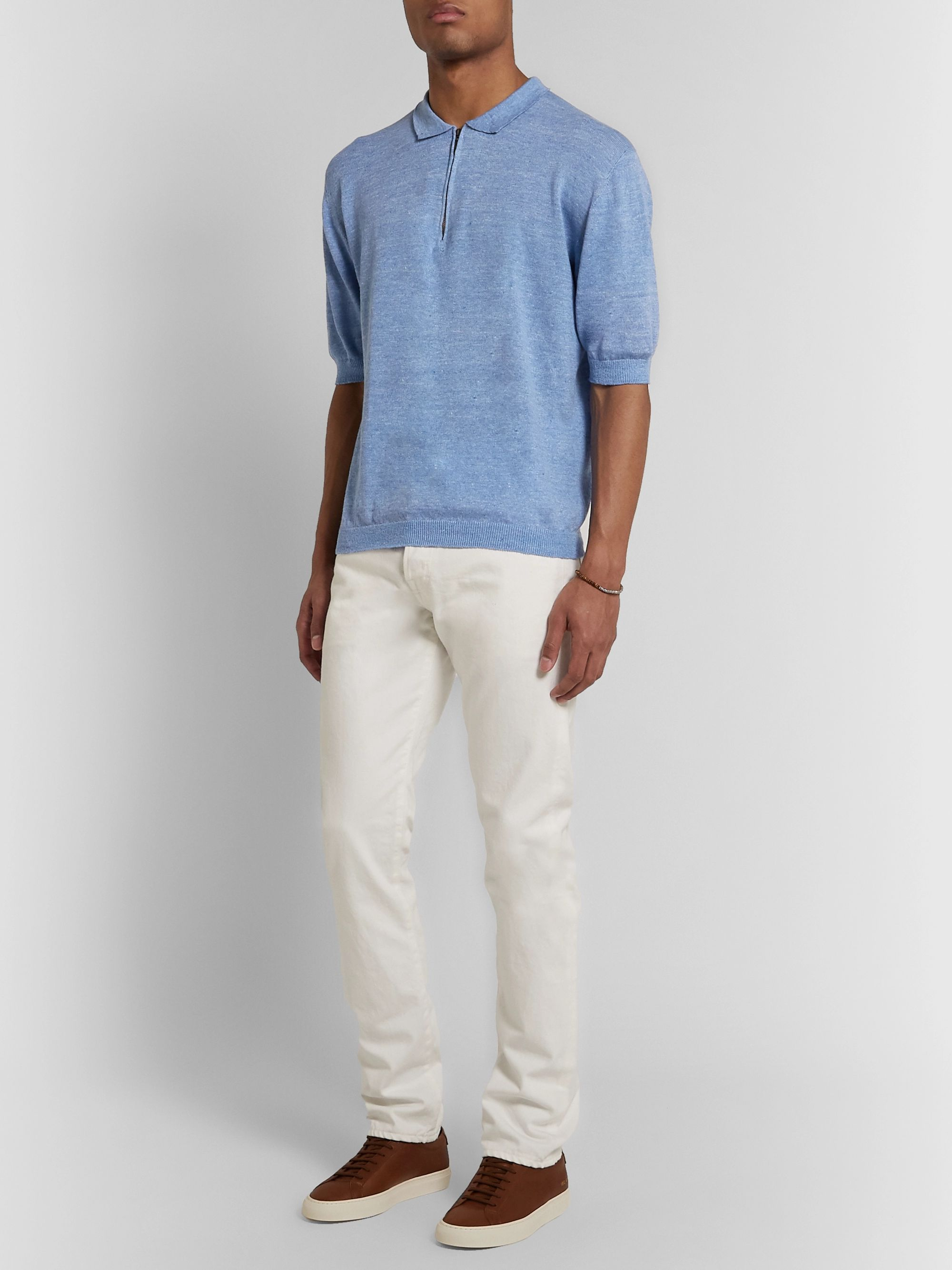 Inis Meáin Knitted Linen and Cotton-Blend Half-Zip Polo Shirt