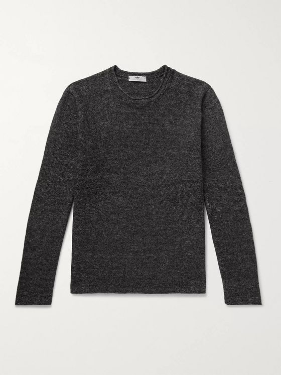Inis Meáin Mélange Linen and Cotton-Blend Sweater
