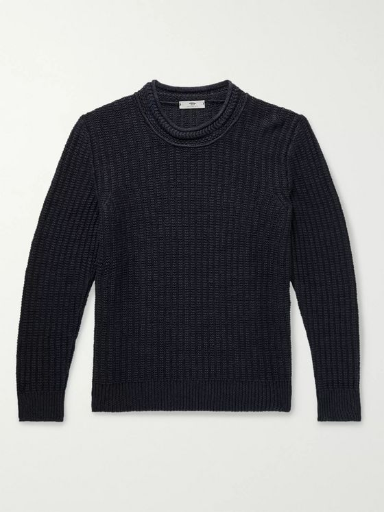 INIS MEÁIN Ribbed Linen and Silk-Blend Sweater