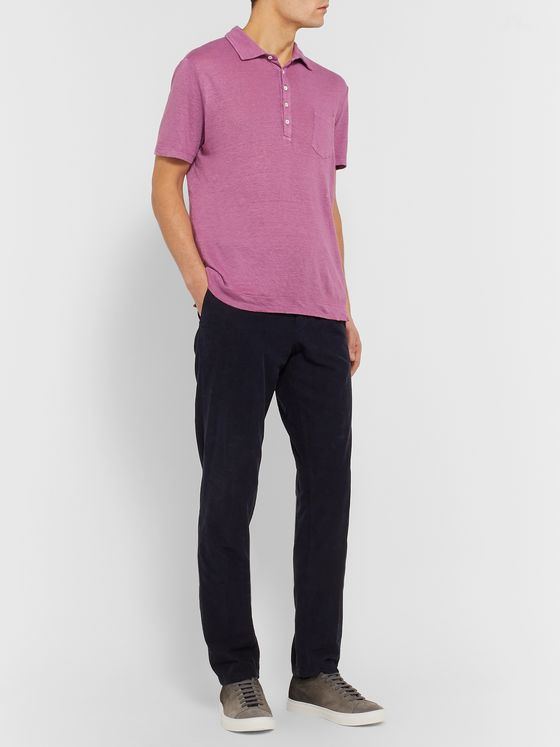 Massimo Alba Garment-Dyed Linen Polo Shirt