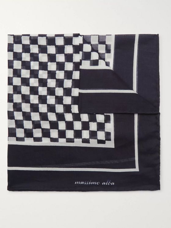 Massimo Alba Checkerboard Printed Cotton Pocket Square