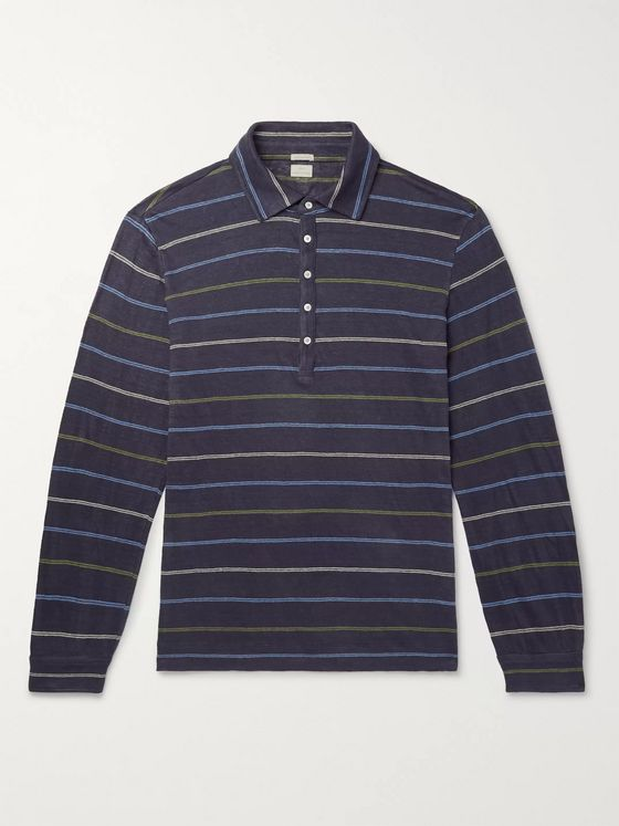 MASSIMO ALBA Striped Linen Polo Shirt