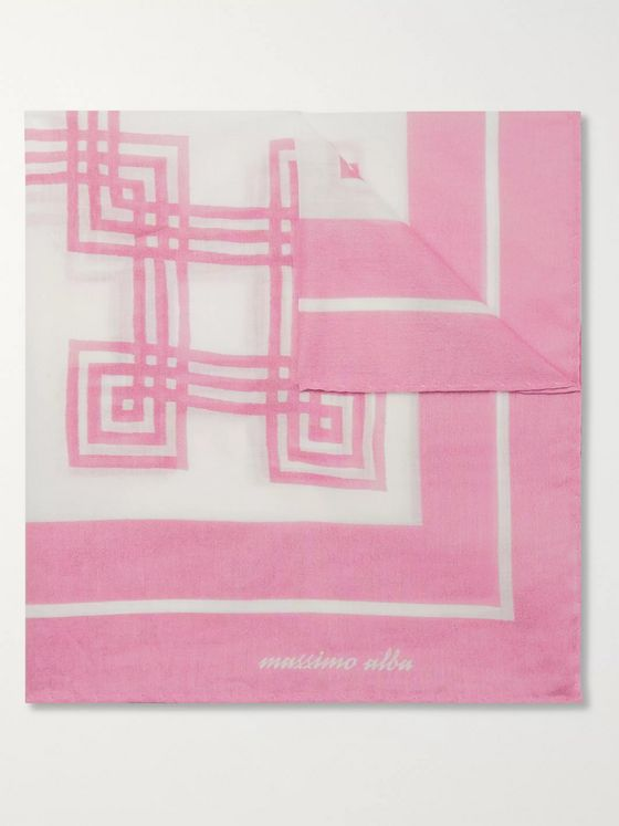 Massimo Alba Printed Cotton Pocket Square