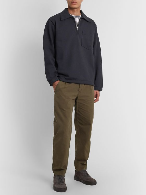 Margaret Howell MHL Loopback Organic Cotton-Jersey Half-Zip Sweater