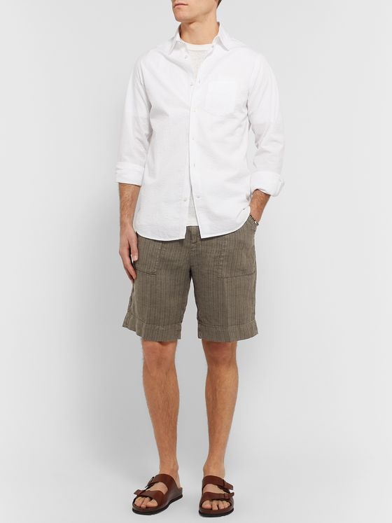 Massimo Alba Wide-Leg Striped Linen Shorts