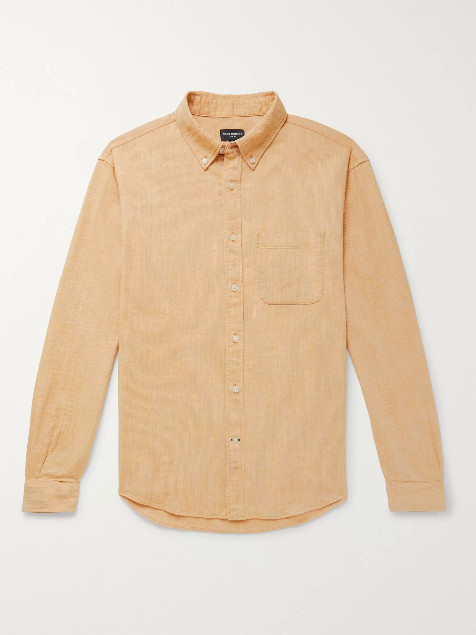 클럽 모나코 Club Monaco Yellow Button-Down Collar Textured Cotton and Linen-Blend Shirt,Yellow
