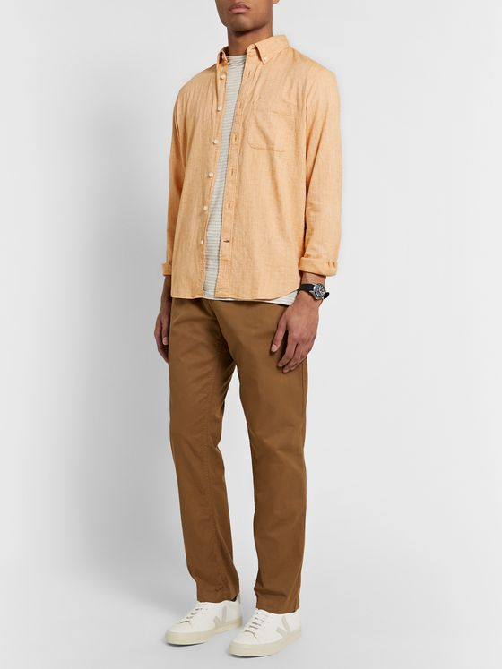Club Monaco Button-Down Collar Textured Cotton and Linen-Blend Shirt