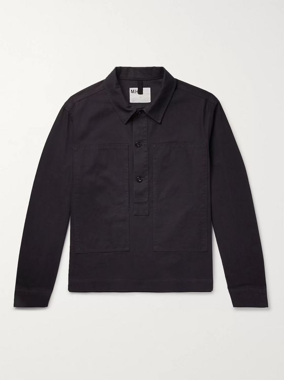 Margaret Howell Indigo-Dyed Cotton-Twill Half-Placket Overshirt