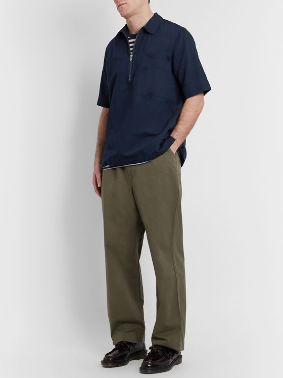 Margaret Howell Cotton and Linen-Blend Half-Zip Polo Shirt