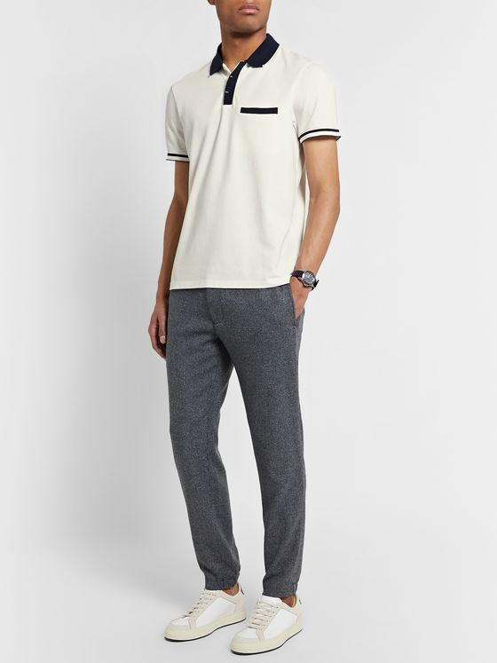 Club Monaco Two-Tone Cotton-Blend Piqué Polo Shirt