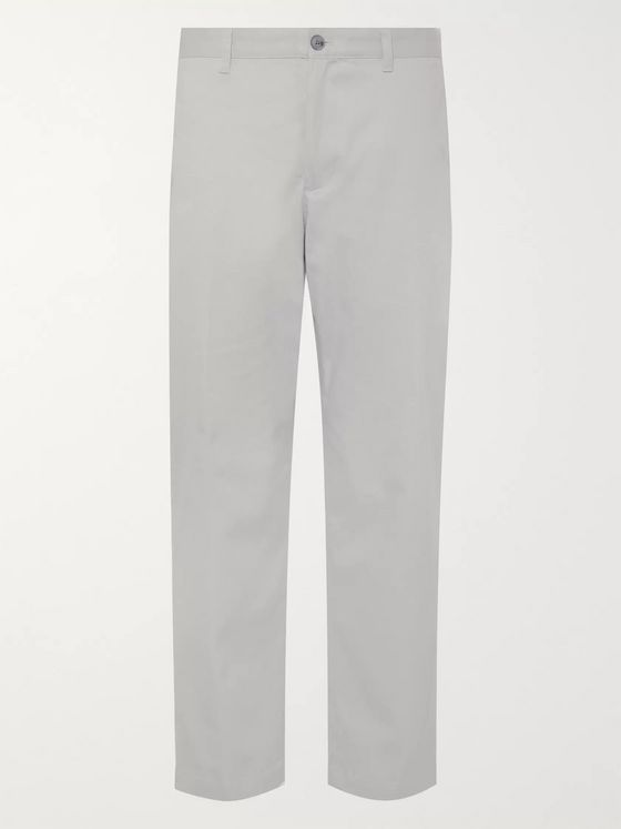 Club Monaco Light-Grey Uniform Slim-Fit Cropped Cotton-Blend Twill Trousers