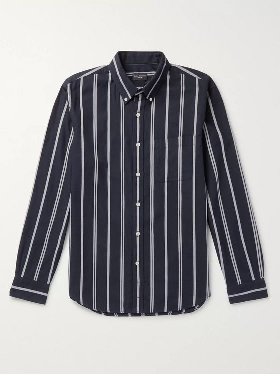 Club Monaco Slim-Fit Button-Down Collar Striped Cotton-Twill Shirt