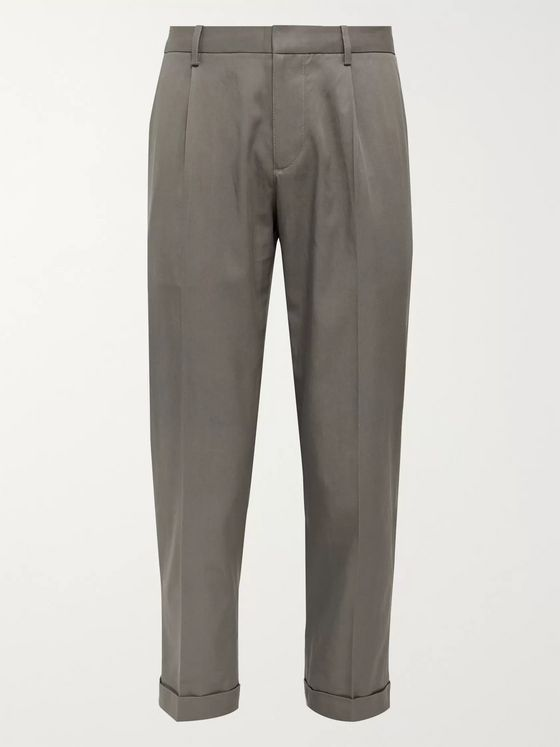 Club Monaco Slim-Fit Cropped Pleated Tencel and Cotton-Blend Trousers