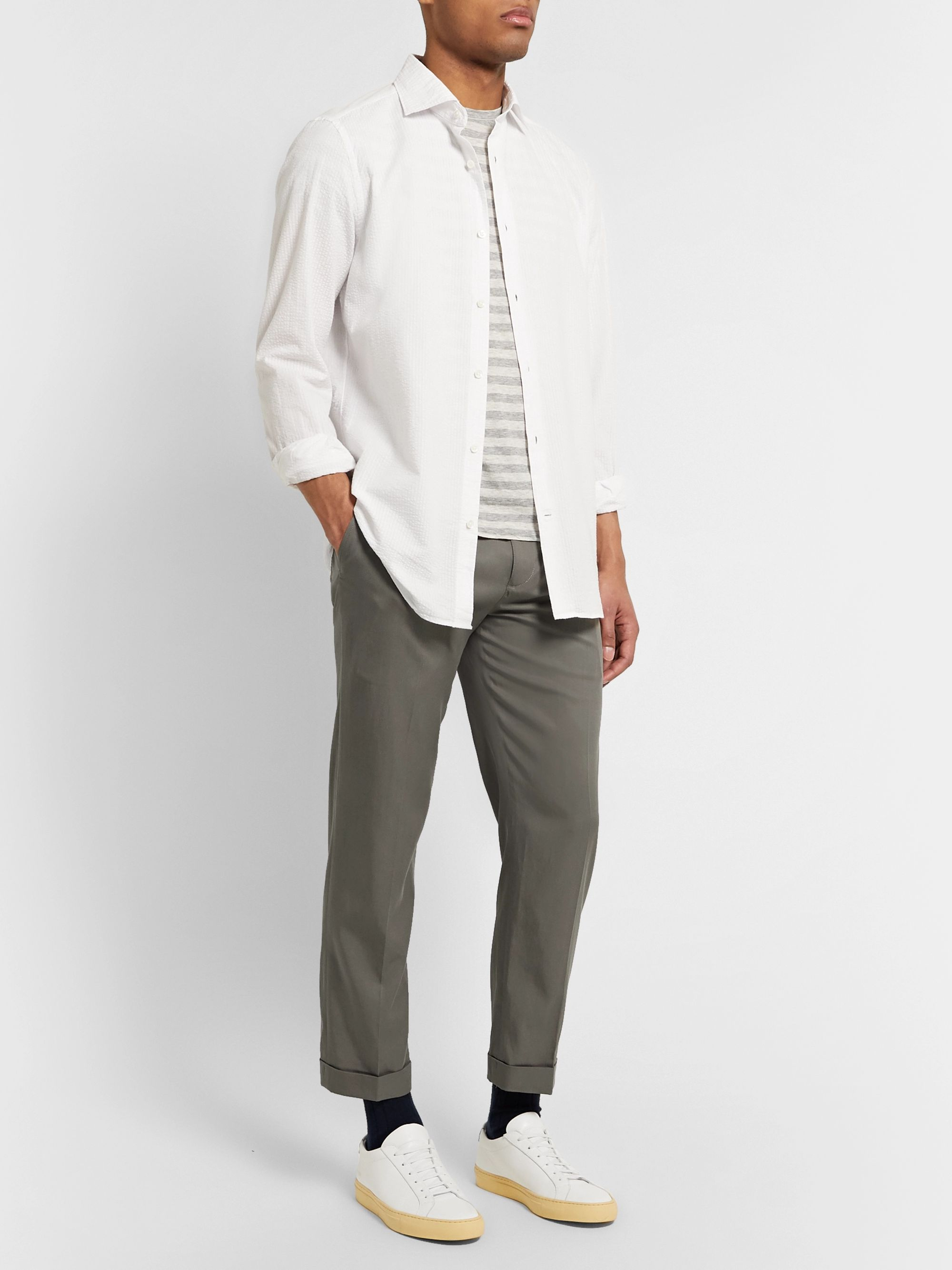 Slim Fit Cropped Pleated Tencel and Cotton Blend Trousers