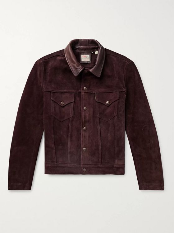 Levi's Vintage Clothing Leather-Trimmed Suede Trucker Jacket