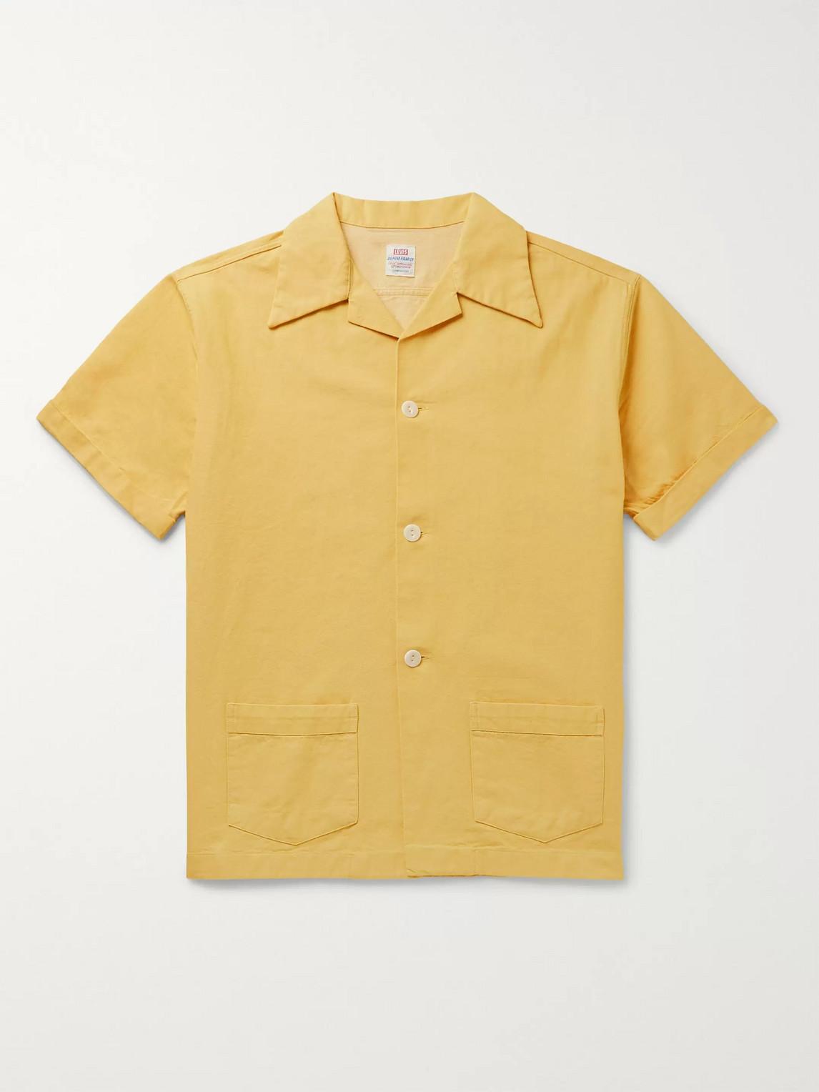 levi's vintage clothing - denim family camp-collar cotton shirt - men - yellow