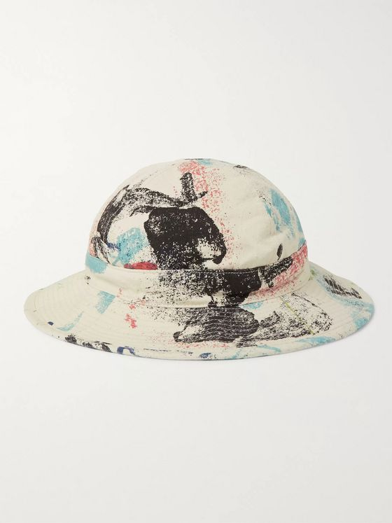 OrSlow Paint-Splattered Denim Bucket Hat
