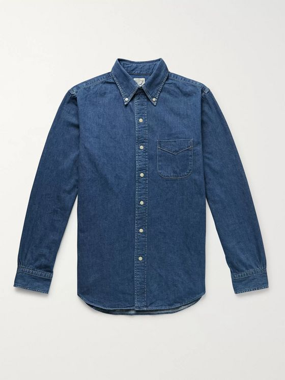 OrSlow Button-Down Collar Selvedge Denim Shirt