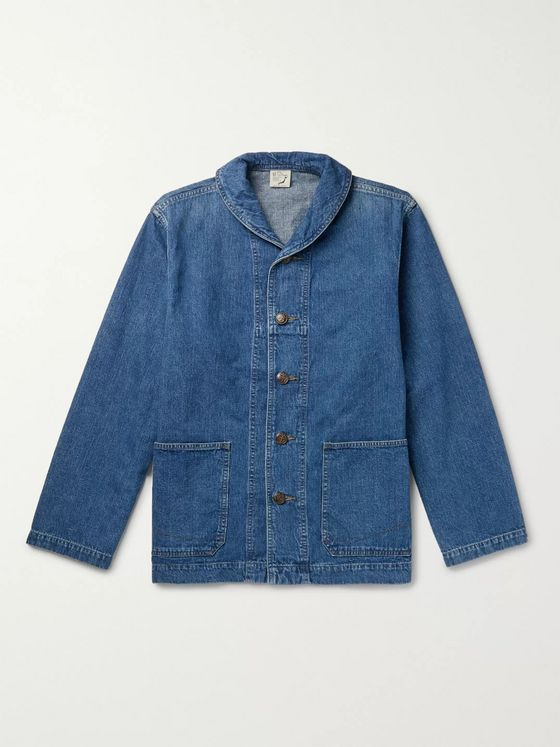 OrSlow Shawl-Collar Denim Jacket