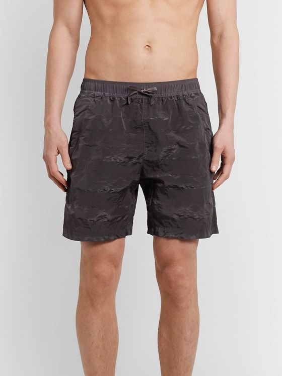 Stone Island Shadow Project Wide-Leg Mid-Length Garment-Dyed Striped Swim Shorts