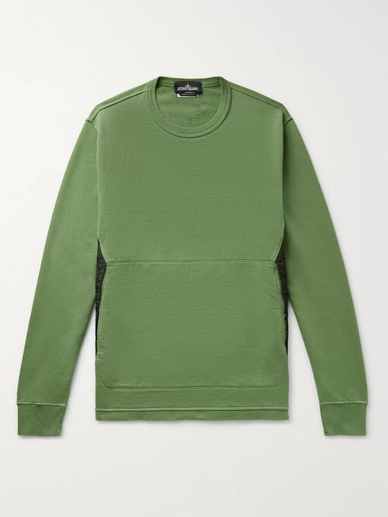 Stone Island Shadow Project Nylon-Trimmed Garment-Dyed Loopback Cotton-Jersey Sweatshirt