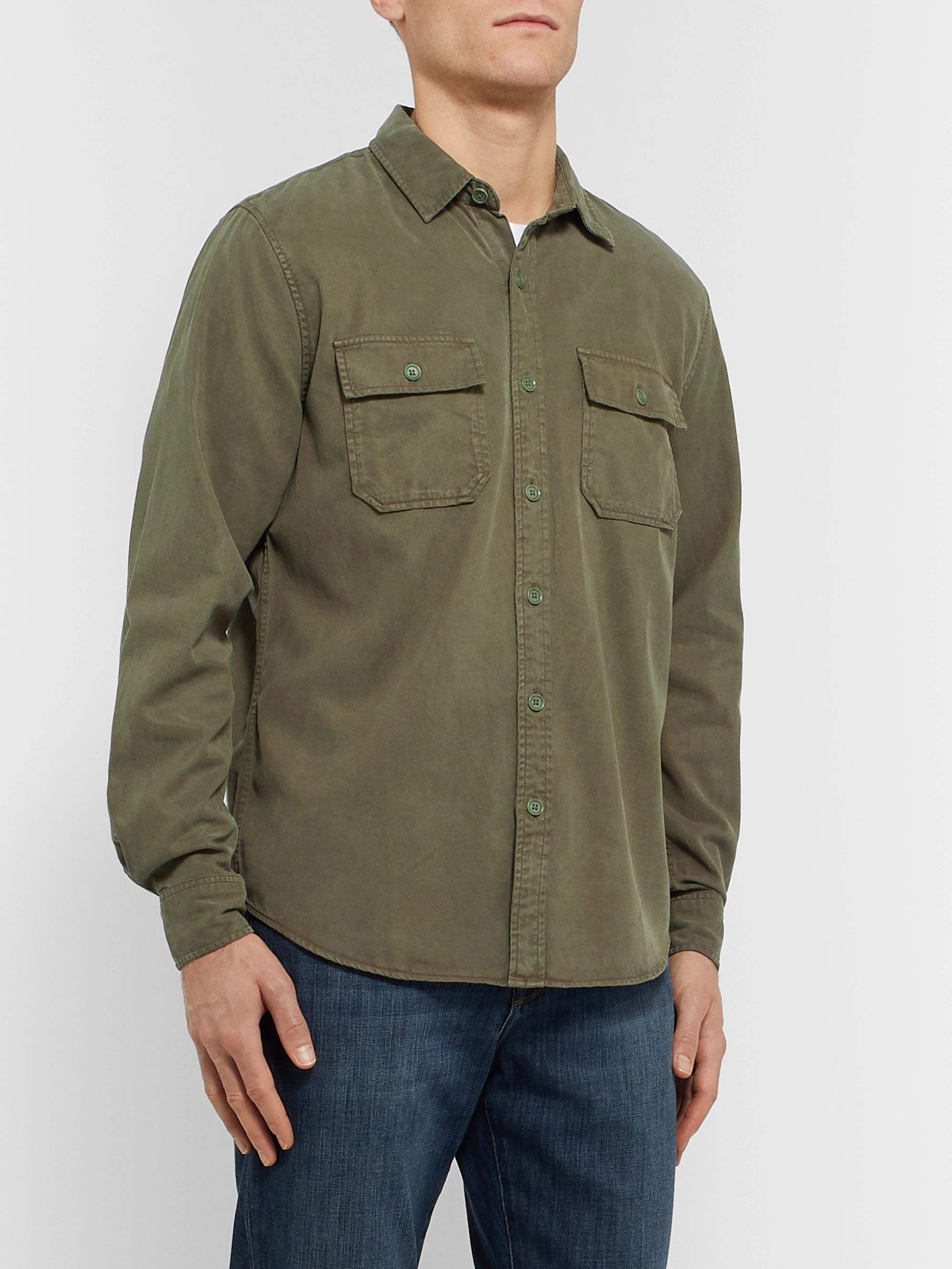 FRAME Lyocell and Cotton-Blend Shirt