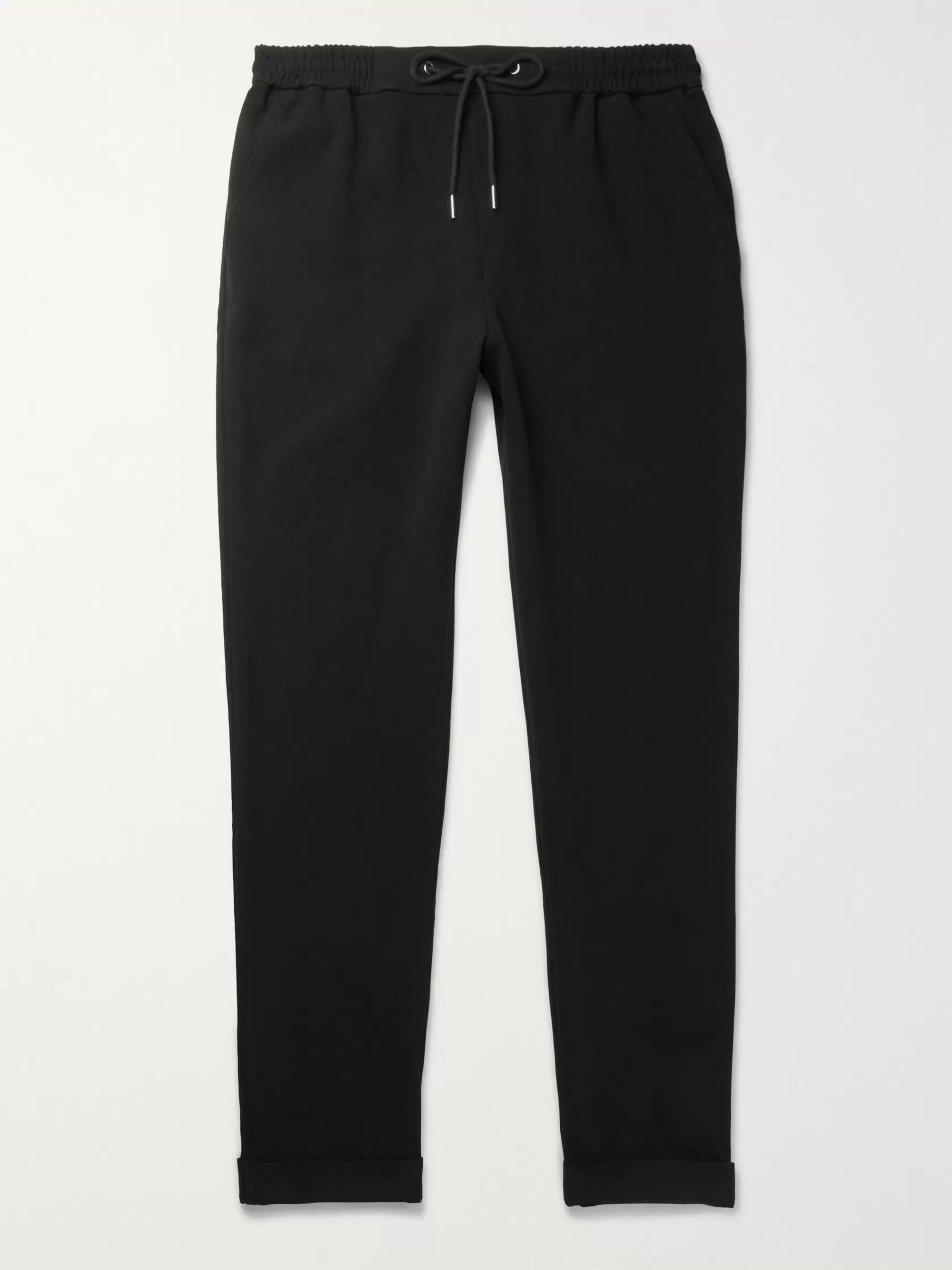 FRAME Black Slim-Fit Jersey Drawstring Trousers